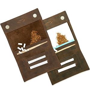 Portatabacco cuoio doppio scomparto cartine filtri chiusura magnetica umidificatore tabacco gratis