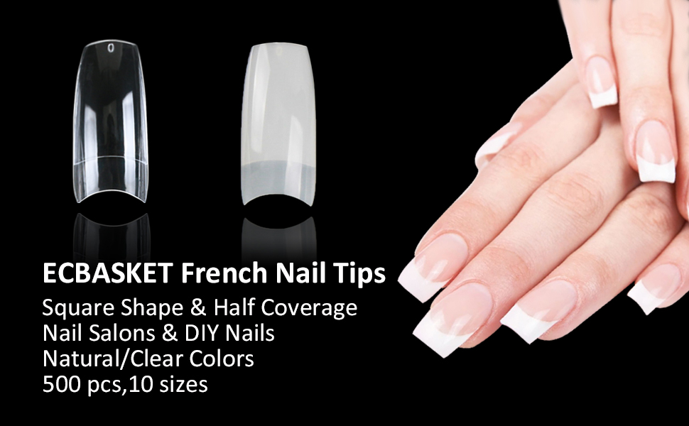 Amazon.com : Fake Nail Tips Clear Acrylic French Nail Tips ECBASKET ...