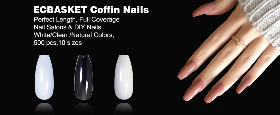 Amazon.com : ECBASKET 500 PCS Coffin Nails Long Ballerina Fake Nail ...