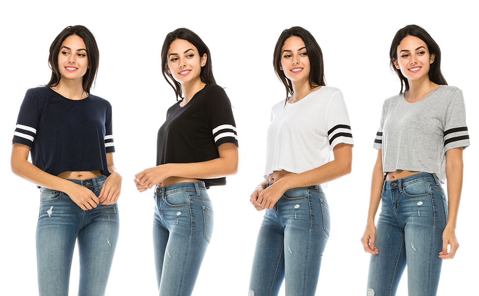 83a560932d7 The Classic Women's Short Sleeve Crew Neck Oversized Striped Crop Tee -Cute  crop top for women, uniors and teen girls, -Great with high waisted jeans  or ...