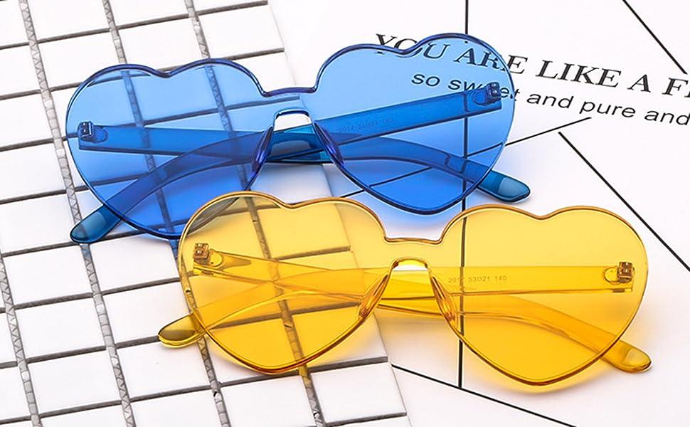 rimless heart shape sunglasses tinted blue