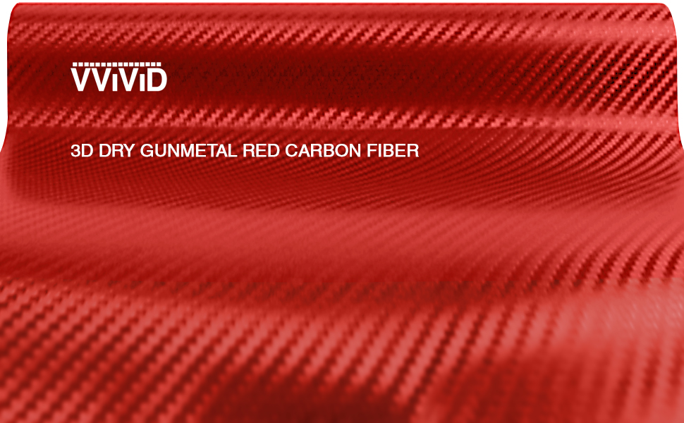 Red Carbon Fiber 60 x 3ft Car Wrap Vinyl Roll with Air Release 3MIL-VViViD