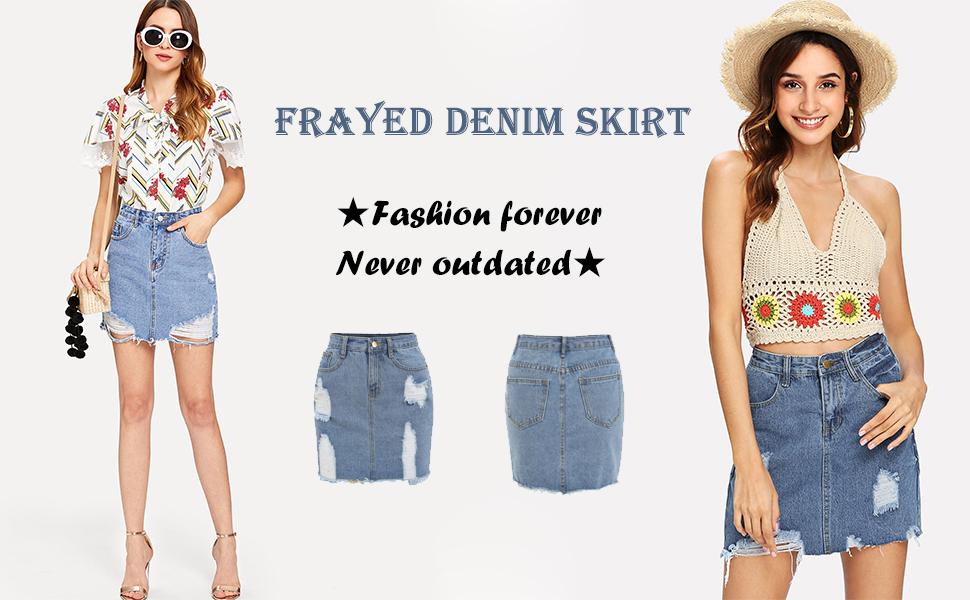 bb0c713735 Verdusa Women's Casual Distressed Frayed Pencil Short Denim Skirt at ...