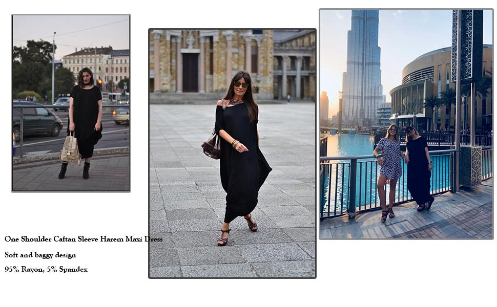690c1b3e8e4 Verdusa Women s One Off Shoulder Caftan Sleeve Harem Maxi Dress at ...