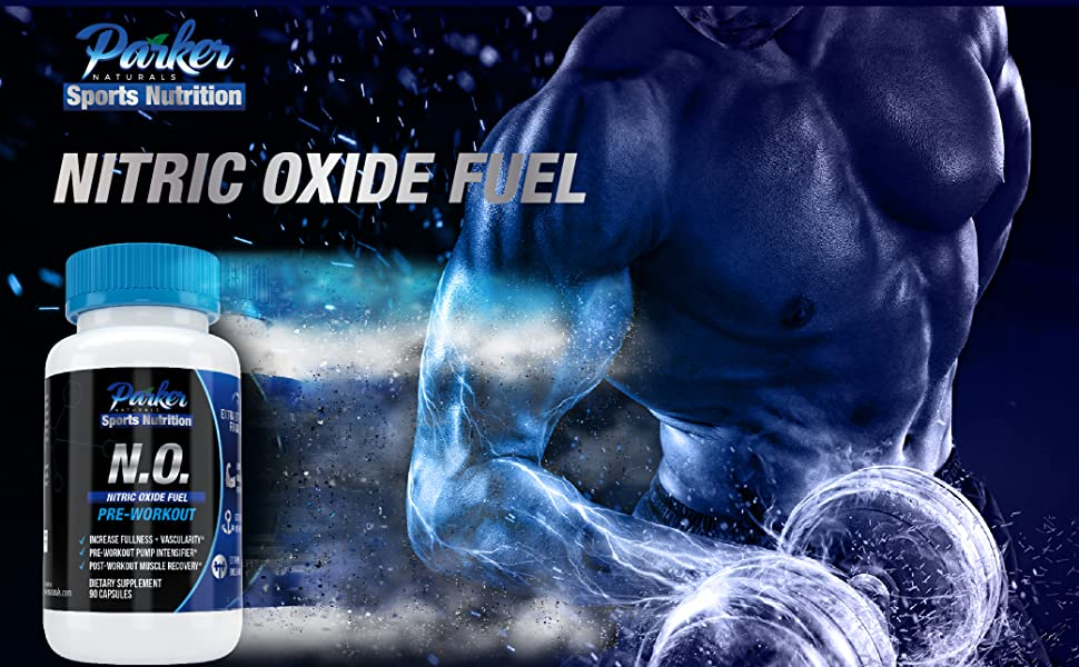 Bottle of Nitric Oxide by Parker Naturals Sports Nutrition with image lifting weights.