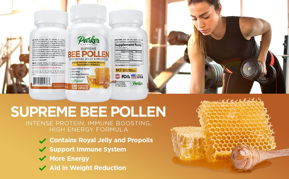 Bottle of Bee Pollen with Propolis by Parker Naturlas with woman lifting weights and benefit list.
