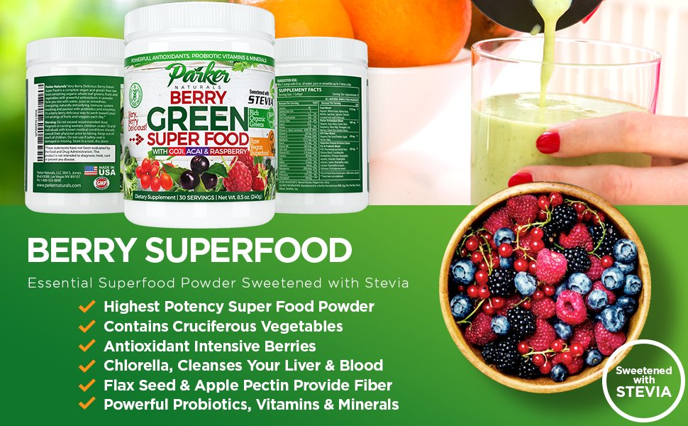 Women pouring Parker Naturals Berry Superfood with Stevia smoothie and bowl of fruit