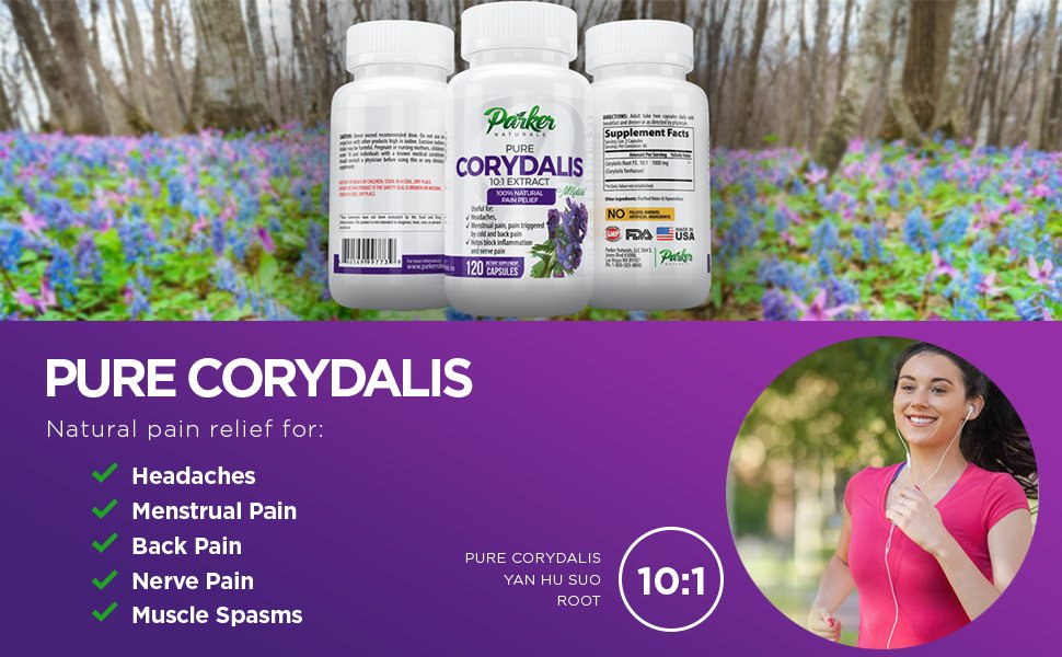 Corydalis by Parker Naturals shown in Corydalis flower field and woman running - benefit list.