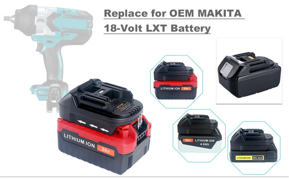 Biswaye 20V Battery Adapter for Makita 18V LXT Tools, Convert Black&Decker  Stanley Porter-Cable 20V Lithium Battery to Makita 18V Lithium Battery
