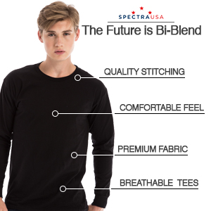 spectra usa, long sleeve, unisex t-shirt, cotton polyester blend, tailored fit, slim