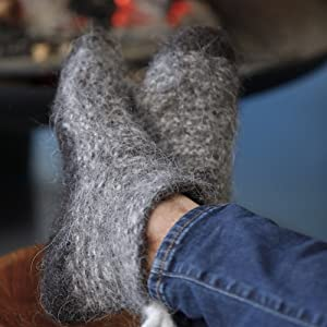Kosy Sheep Wool Home Slipper Socks for Men and Women with soft sole in-door eco  slippers