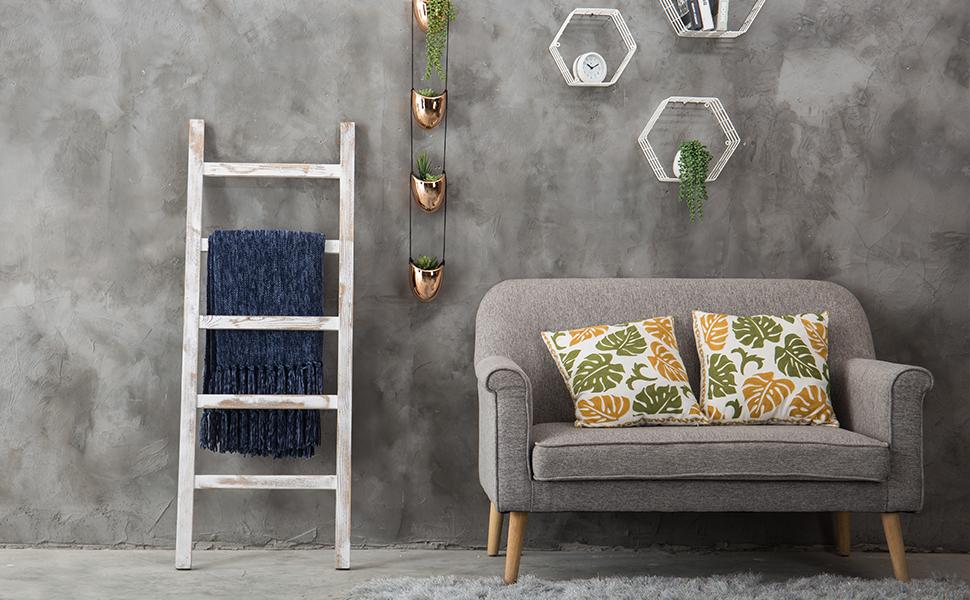 Amazon.com: MyGift - Manta y toallero de madera, diseño ...
