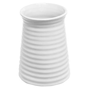 ribbed white flower vase in cylindrical tapered design