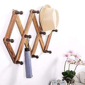 MyGift 10 Hook Burnt Wood Wall Mounted Expandable Accordion Peg Coat Rack Hanger
