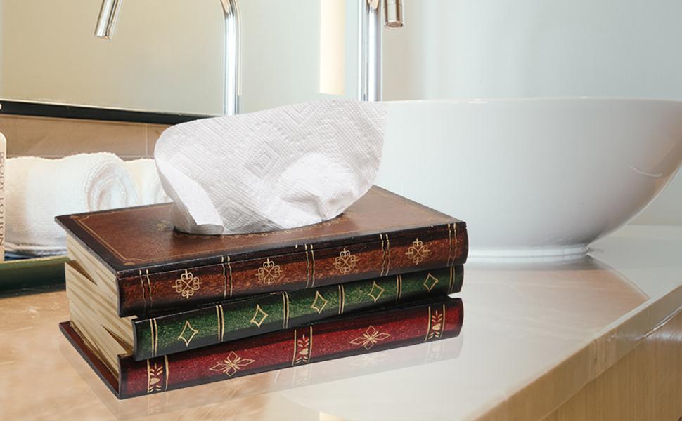 Strange Mygift Antique Book Design Wood Bathroom Facial Tissue Dispenser Box Cover Novelty Napkin Holder Pdpeps Interior Chair Design Pdpepsorg