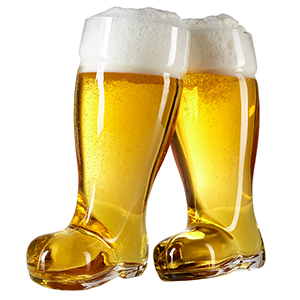 clear glass drinking boot for beer