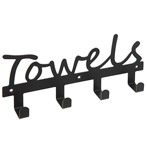 """black metal towel rack with four u-shaped prongs and cursive cutout lettering of the word """"towels"""""""