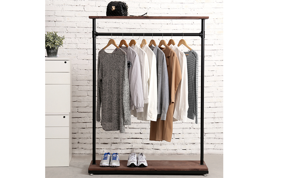 MyGift 60-Inch Rustic Industrial Wood & Pipe Design Freestanding Coat Rack, Retail Garment Display Stand