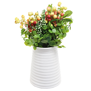 ribbed white flower vase in cylindrical tapered design with decorative greenery displayed