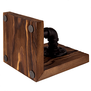 Set of 2 MyGift Industrial-Style Pipe /& Rustic Wood Tabletop Bookends