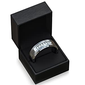 tungsten carbide ring mens wedding band cz jewelry box