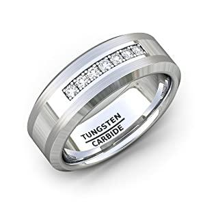 tungsten ring mens wedding band cz