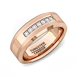 tungsten ring rose gold cz