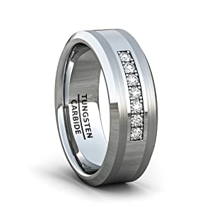 mens wedding band tungsten ring amazon cz