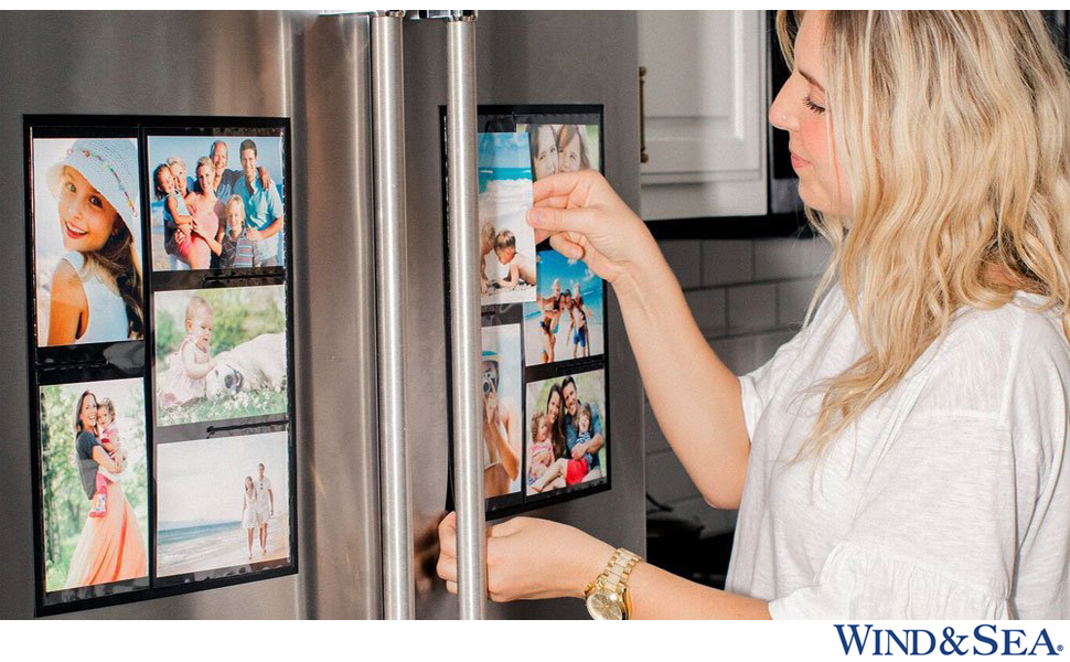 Amazon Com Wind Sea Magnetic Picture Collage Frame For Refrigerator 2 Pack Black