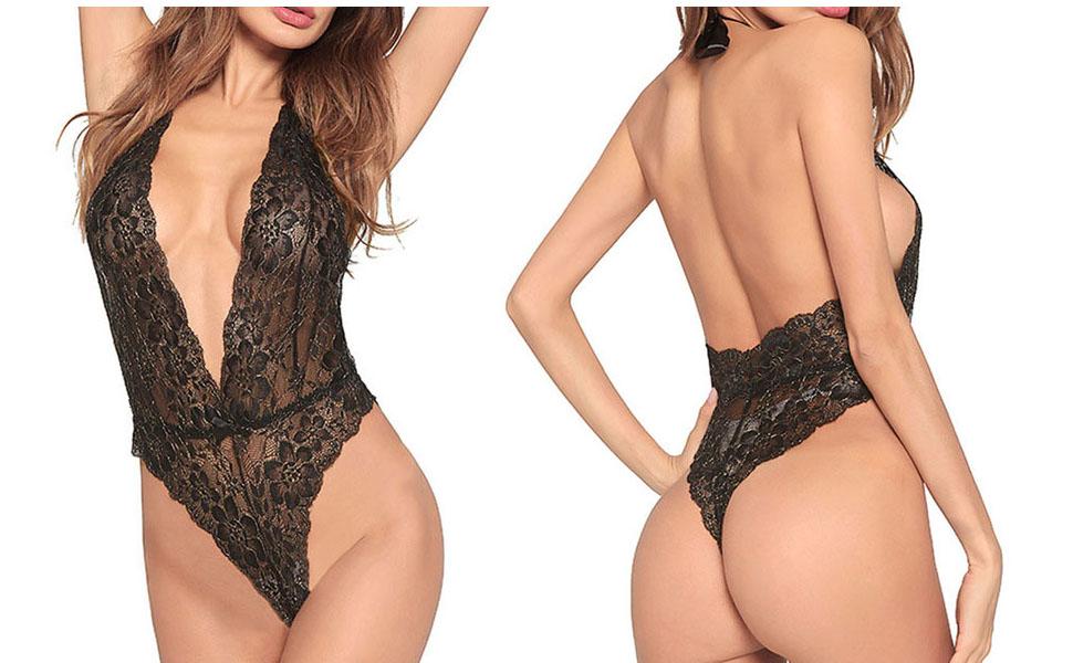 f39ac538e9 Amazon.com: Esquki Women's Sexy Lace Bodysuit Teddy Lingerie Black ...