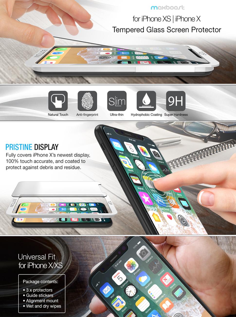 Maxboost iPhone XS Screen Protector / iPhone X Screen Protector