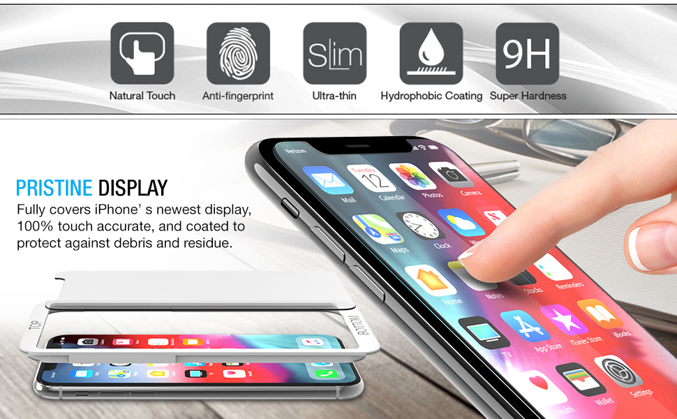Work with Most Case 99/% Touch Sensitiv 0.25mm iPhone Xs Max Tempered Glass Screen Protector w//Advanced Clarity 6.5 inch Clear, 3 Packs Maxboost Screen Protector for Apple iPhone Xs Max 3D Touch