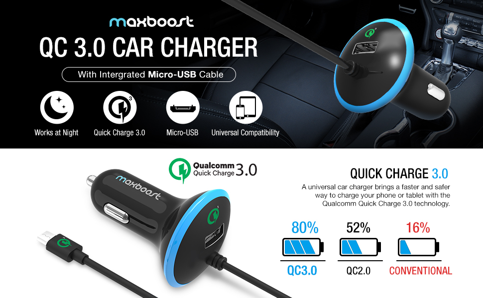 Amazon Com Quick Charge 3 0 Car Charger Maxboost 36w Usb