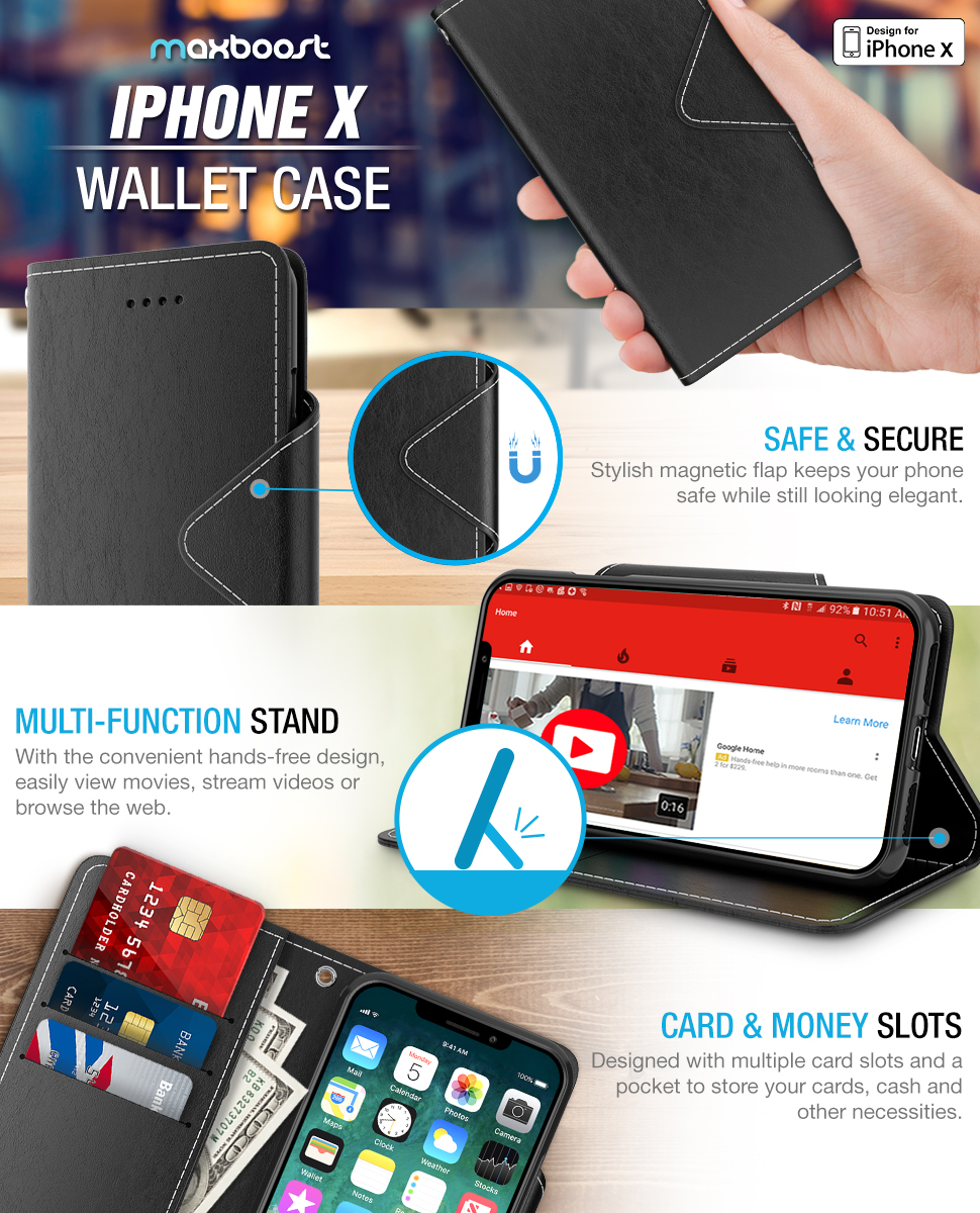 maxboost iphone x wallet case folio style. Black Bedroom Furniture Sets. Home Design Ideas