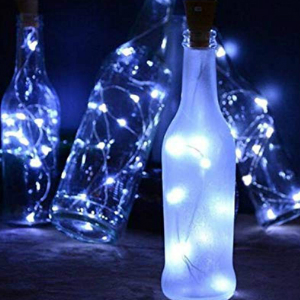 cork fairy lights with empty wine bottle 12 cool white