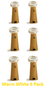 warm white empty bottle lighs with cork 6 pack