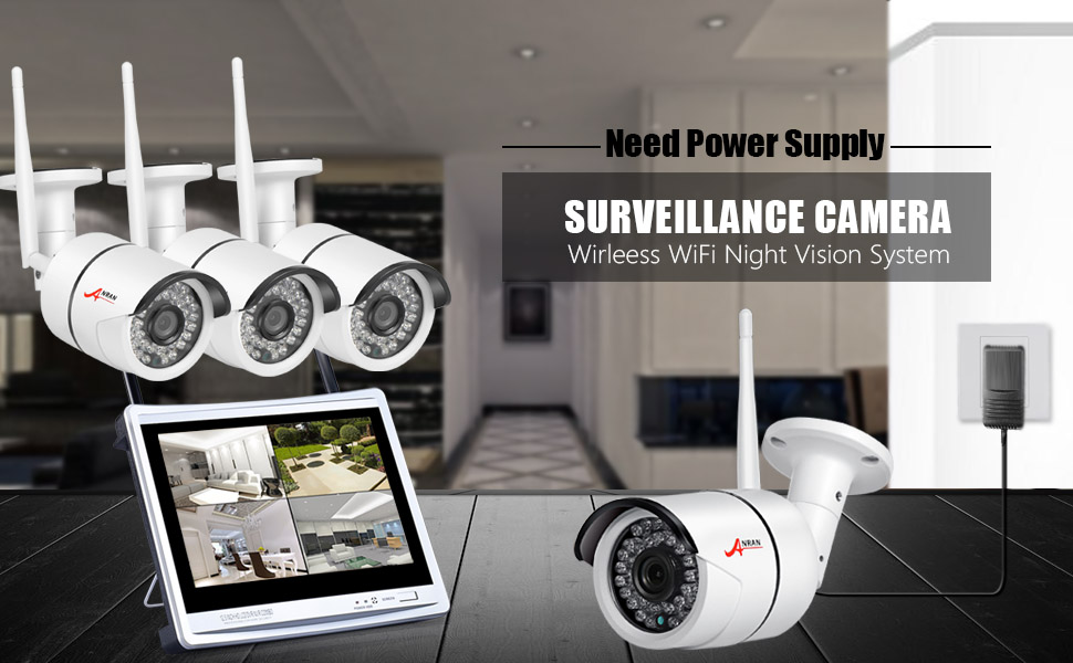 ANRAN 4 Channels 960P Wireless Home Security Camera System NVR with 12