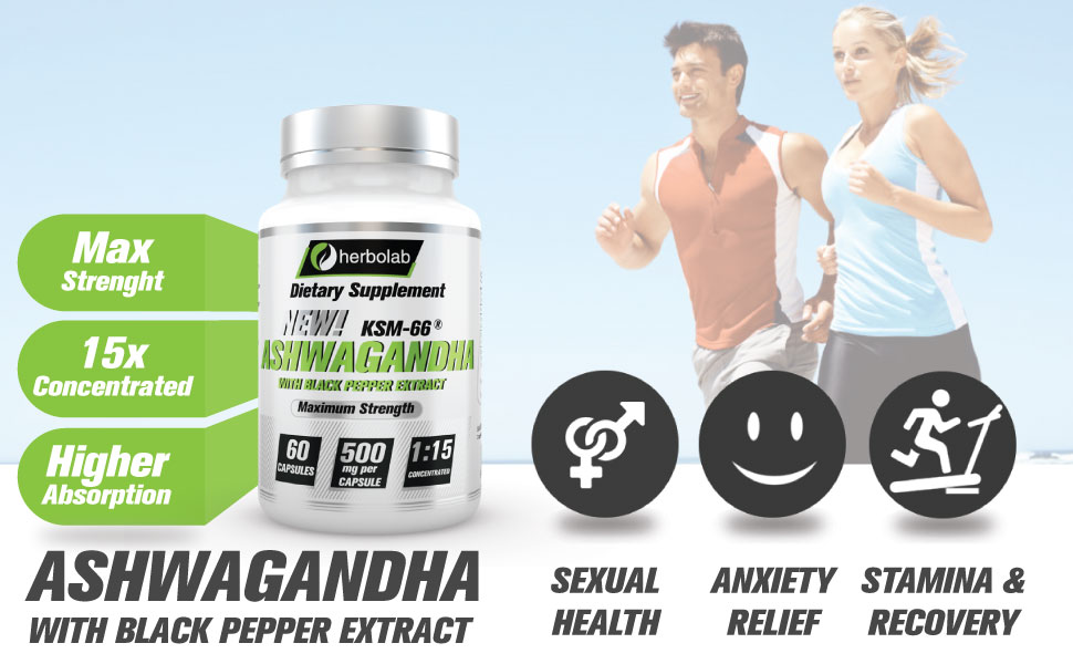 Herbolab Ashwagandha 1:15 with Black Pepper Extract (Higher Absorption) Max  Potency Full Spectrum