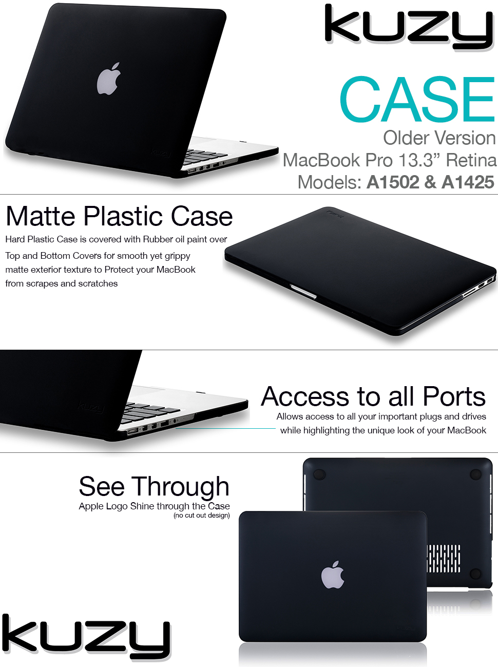 Kuzy Rubberized Hard Case For Older Macbook Pro 133 Retina 15 Inch Grey Matte High Quality Series