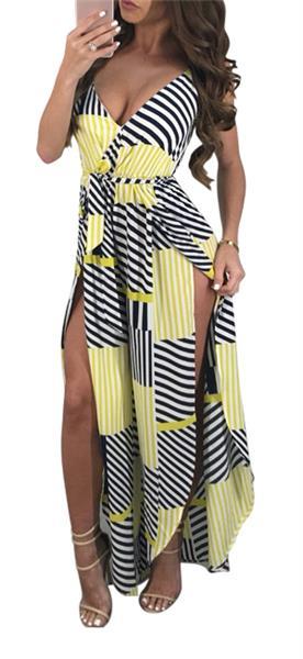 4a068bbb295 Women s Summer Sexy Strappy Beach Swing Dress High Split Long Maxi Jumpsuit