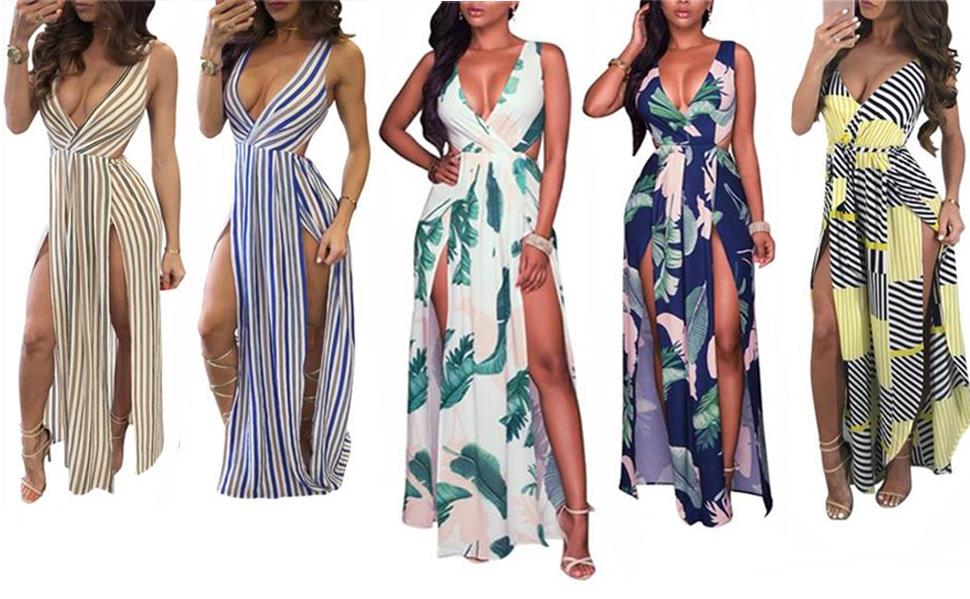 5b92b5208d Women's Summer Sexy Sleeveless V-Neck Floral Print Casual Long Maxi Dress