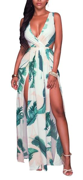 2478b6c1b85 LKOUS Sexy Sleeveless V-Neck Split Long Beach Dress Floral Print ...