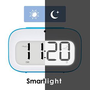 Cute Emoji Desk Clock Smart Backlight//Temperature//Snooze... GEREE Alarm Clock