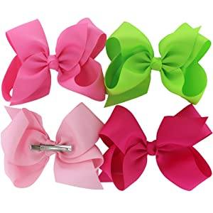 63b3caf9bb30 The baby girls hair ribbon bows are 6 inches with 5.5cm alligator clips in  back,one to match every outfit,a good hair accessories for toddler child  kids ...