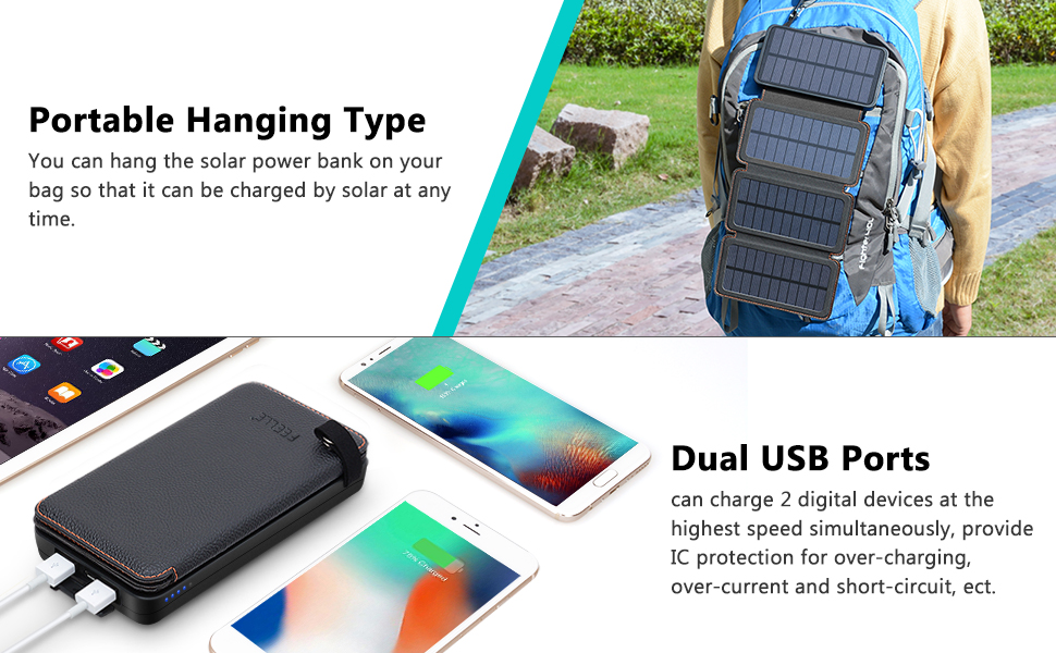 FEELLE Solar Charger 25000mAh Dual 2 1A USB Output Portable External  Battery Charger - HI-S025