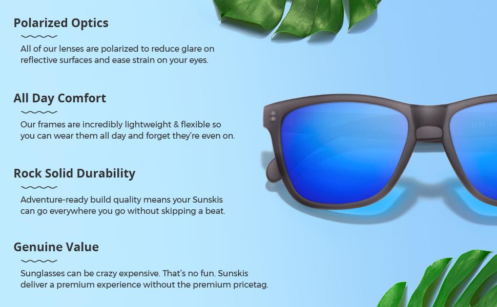 f4172e617a3 Amazon.com  Sunski Classics Polarized Sunglasses for Men and Women ...