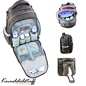 knuddelstuff 39 buckingham 39 baby diaper bag backpack organizer system insulated. Black Bedroom Furniture Sets. Home Design Ideas