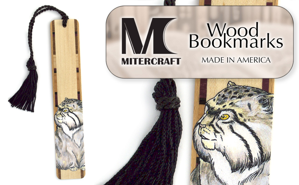 Mitercraft Wood Bookmarks Hand Made in America - Functional Art for Your Favorite Books - Pallass Cat Drawing by Kathleen Barsness