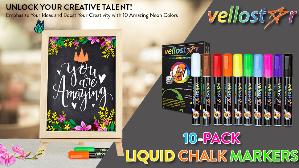 vellostar 10 pack liquid chalk markers a new way to color your ideas