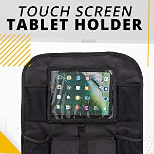Car Organizer Tideland Products CAR1 5 Pockets Car Back Seat Organizer for Kids and Toddlers by Tidelands Multipurpose Kick Mat Touch Screen Tablet Holder for Android /& iOS